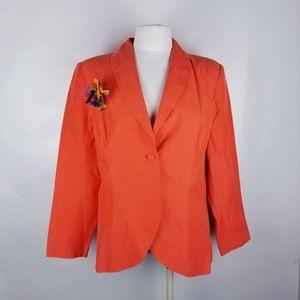 Diane Von Furstenberg Orange Silk Blazer